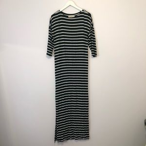 sleeved black and white striped maxi dress
